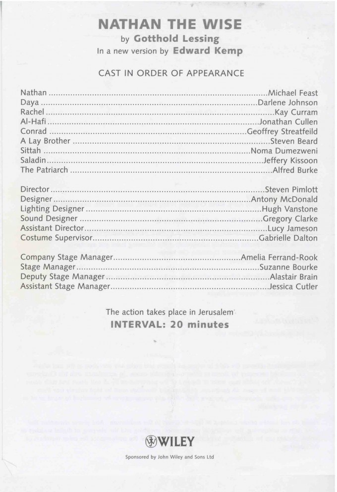 Cast List - Nathan the Wise - 2003 -1 of 2