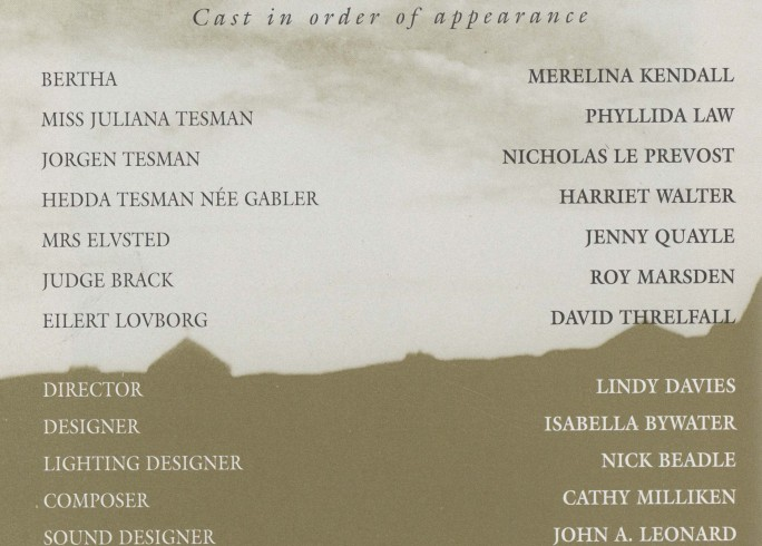 Cast list - Hedda Gabler - 1996 - 1 of 2