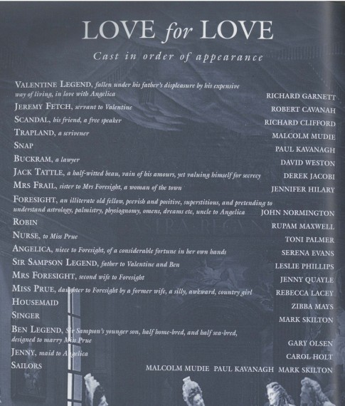 Cast list - Love for Love - 1996 - 1 of 2