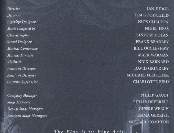 Cast list - Love for Love - 1996 - 2 of 2