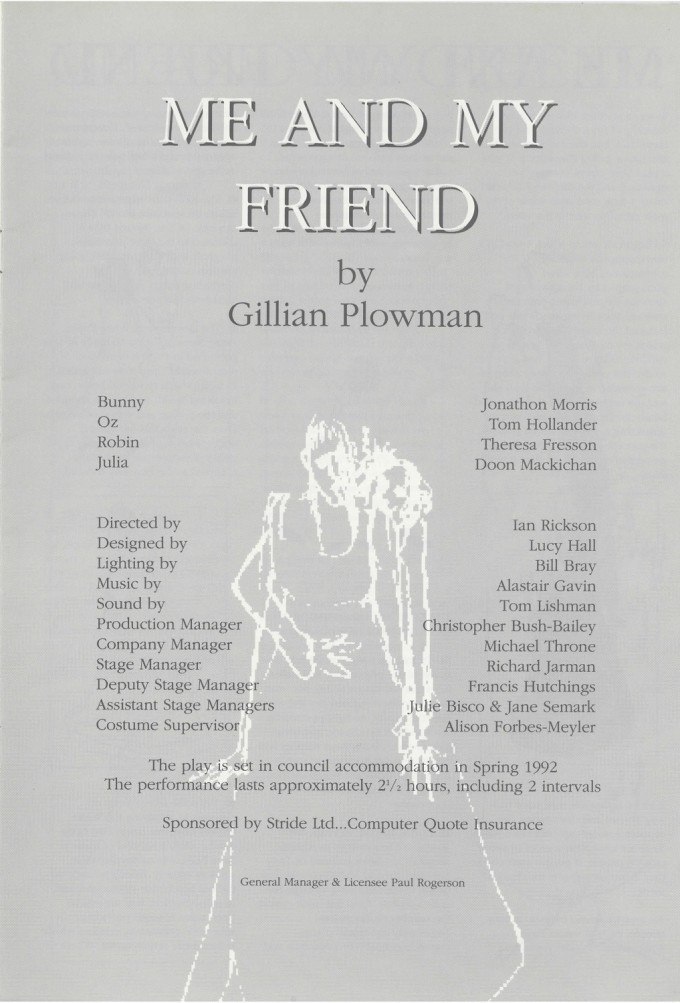 Cast list - Me and My Friend - 1992 - R Ansley collection - H29.8cm W42cm