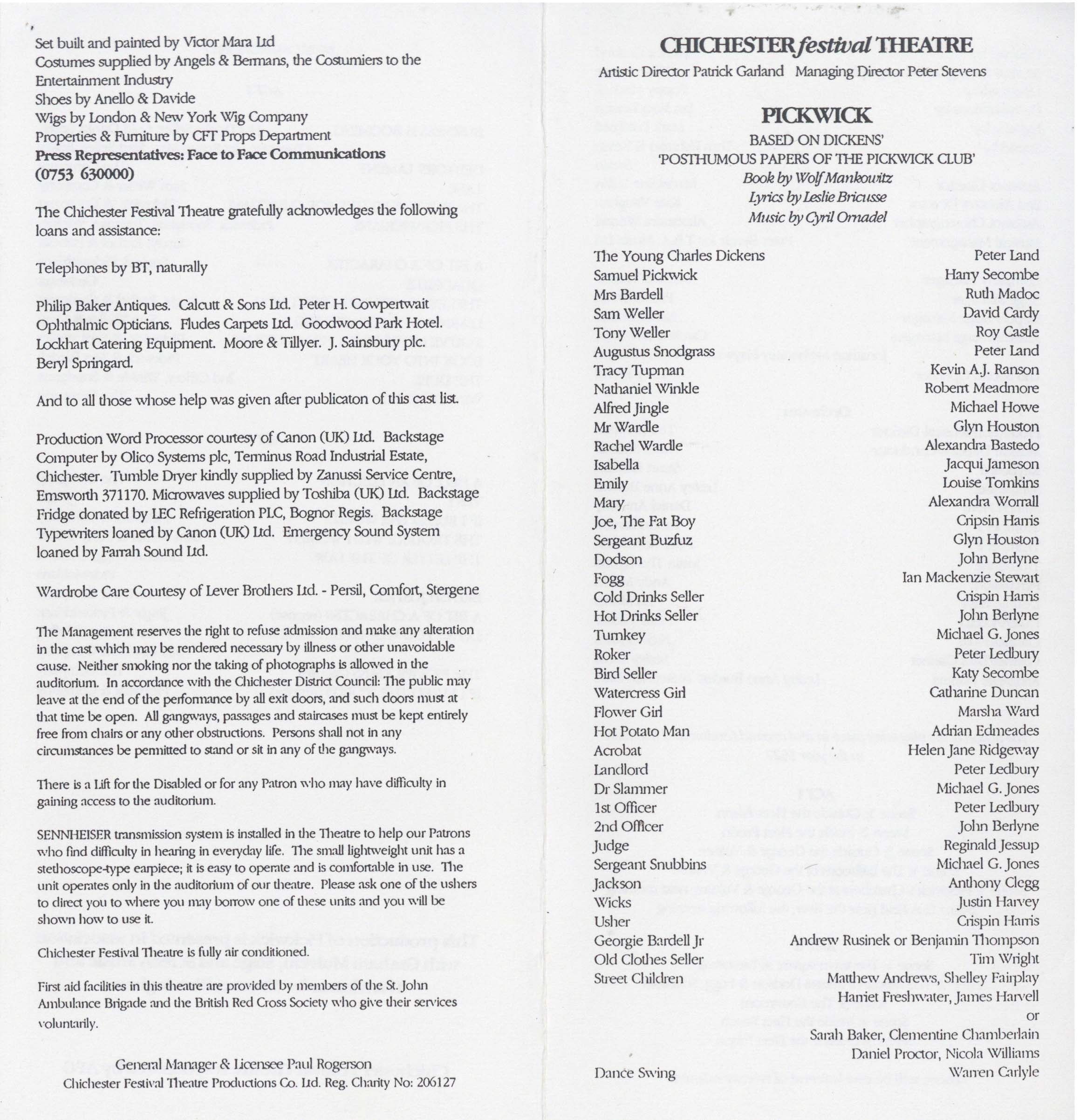 Cast list - Pickwick - 1993 -  1 of 2