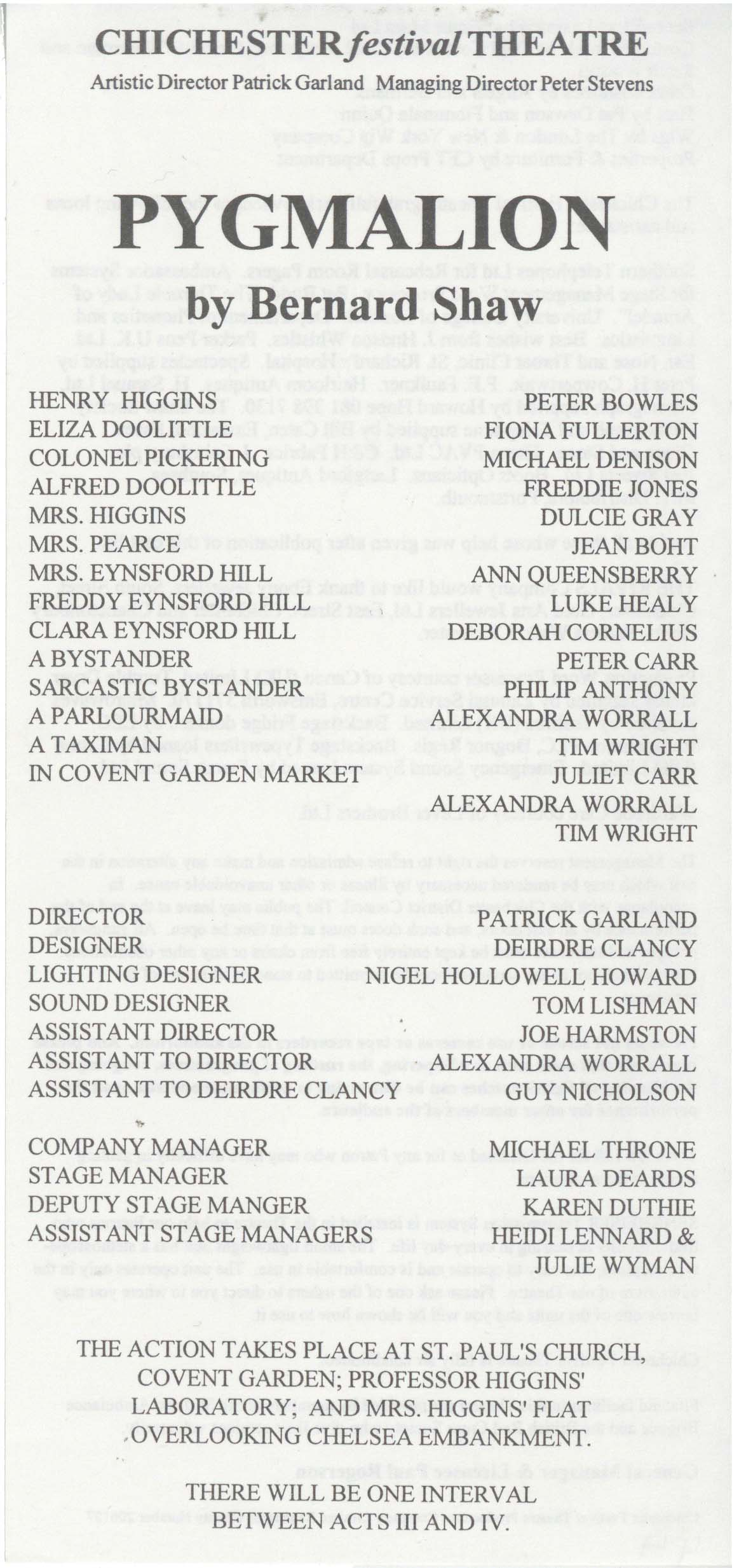 Cast list - Pygmalion -  1994 - 1 of 2