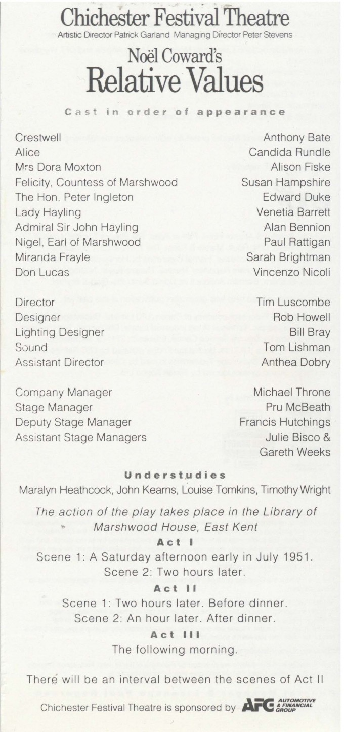 Cast list - Relative Values - 1993 - 1 of 2