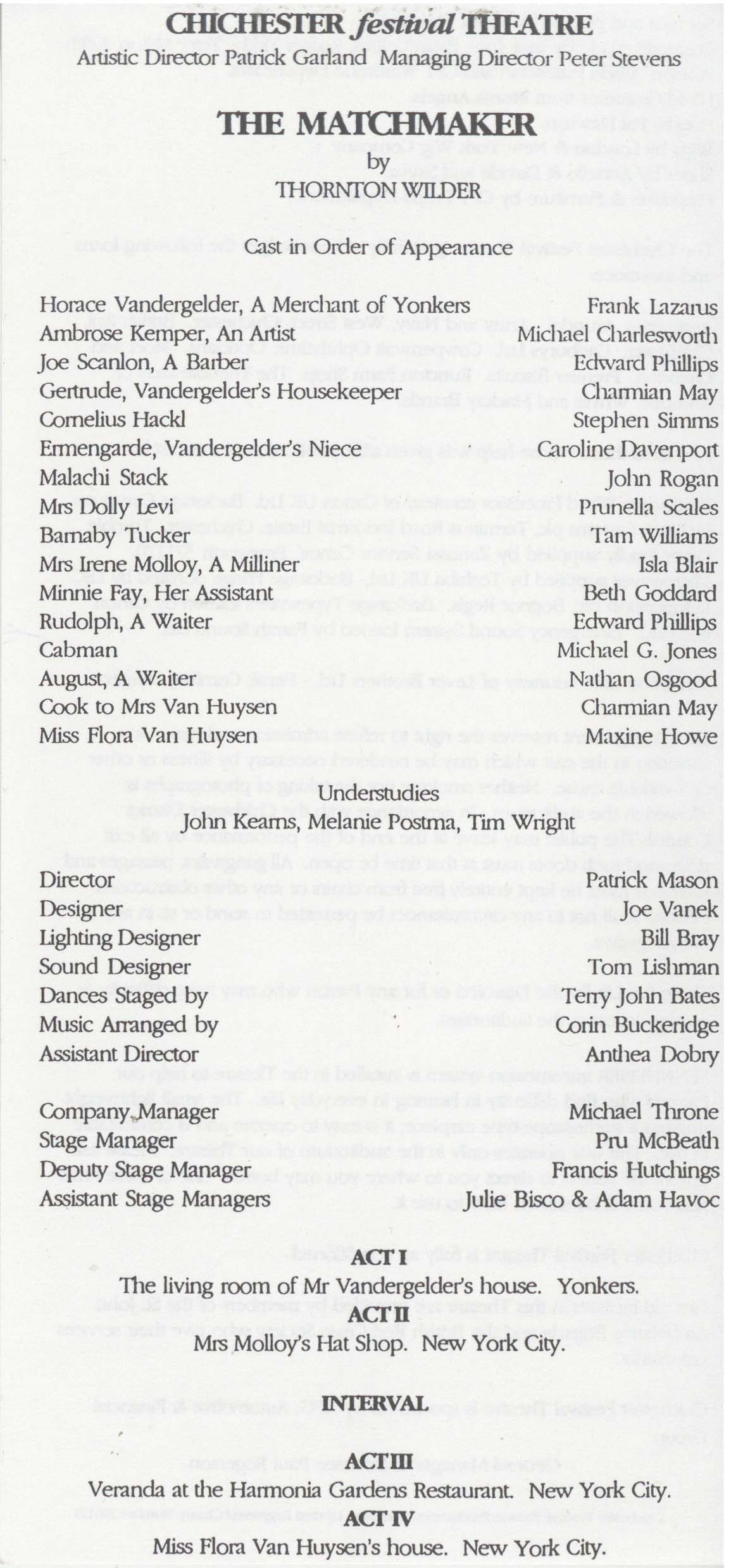 Cast list - The Matchmaker - 1993 -  1 of 2