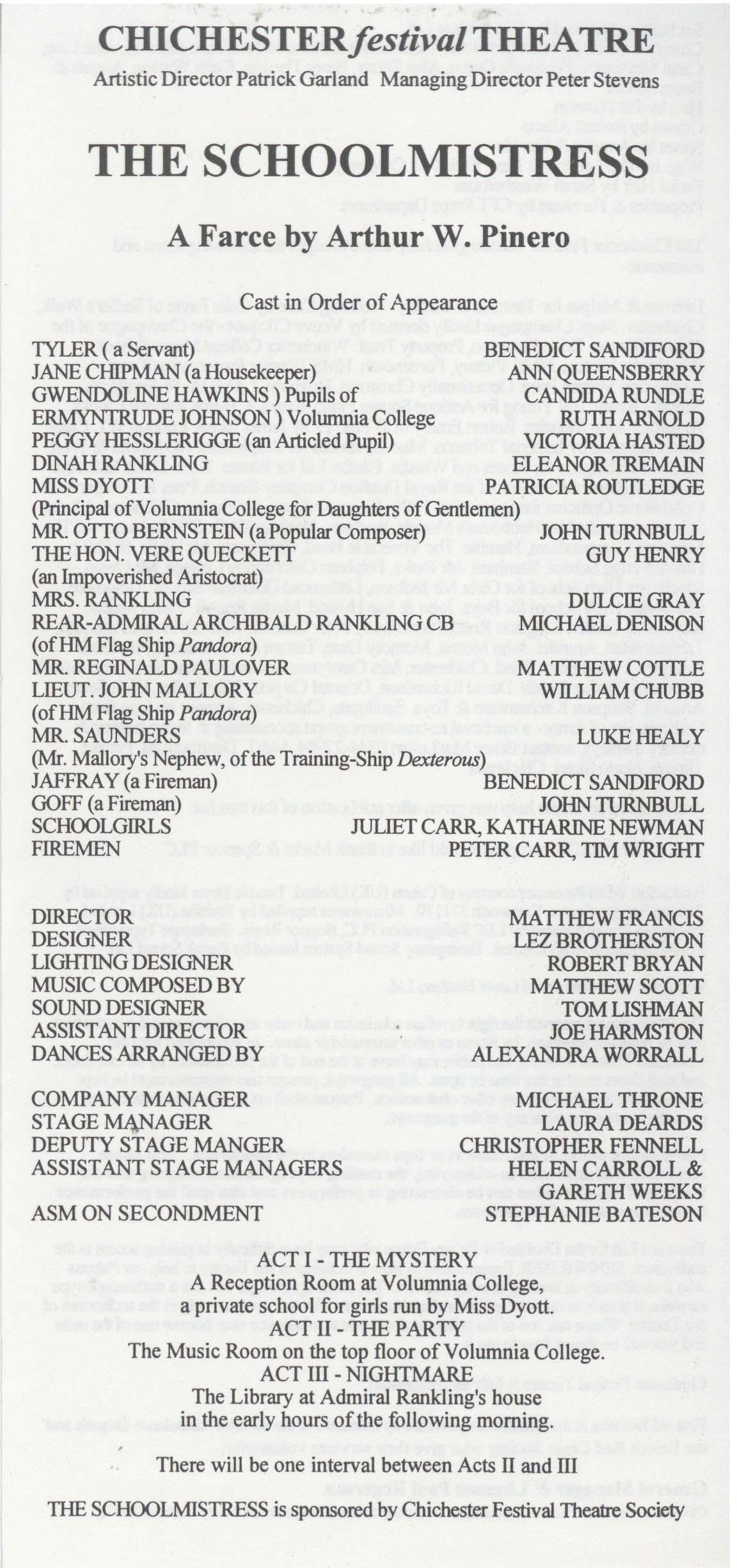 Cast list - The Schoolmistress - 1994 - 1 of 2