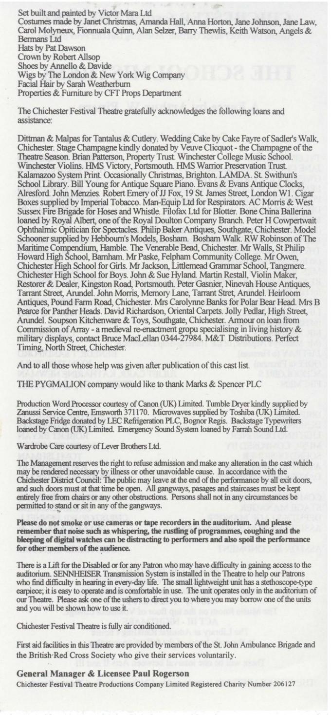 Cast list - The Schoolmistress - 1994 - 2 of 2