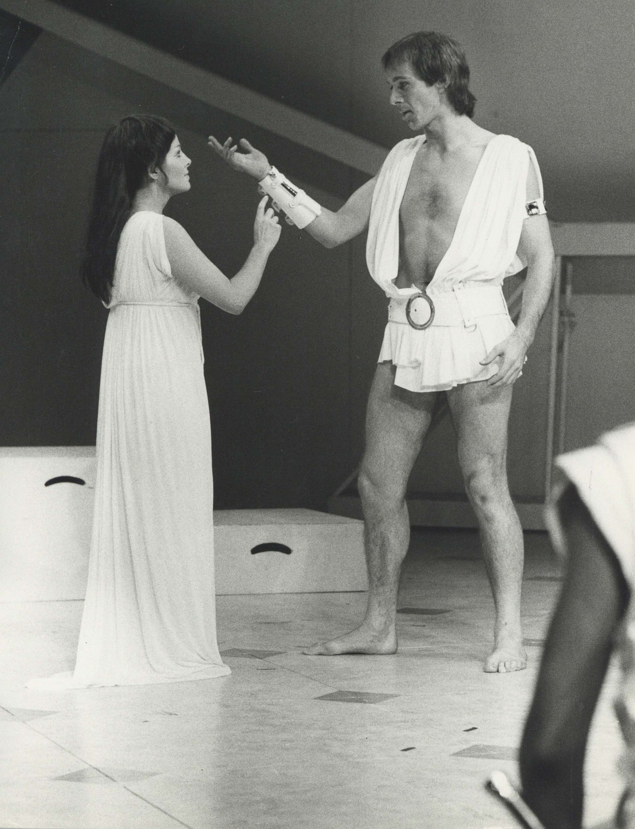 Production photograph - Caesar and Cleopatra - Anna Calder-Marshall, Peter Egan - Photographer John Timbers - 1971