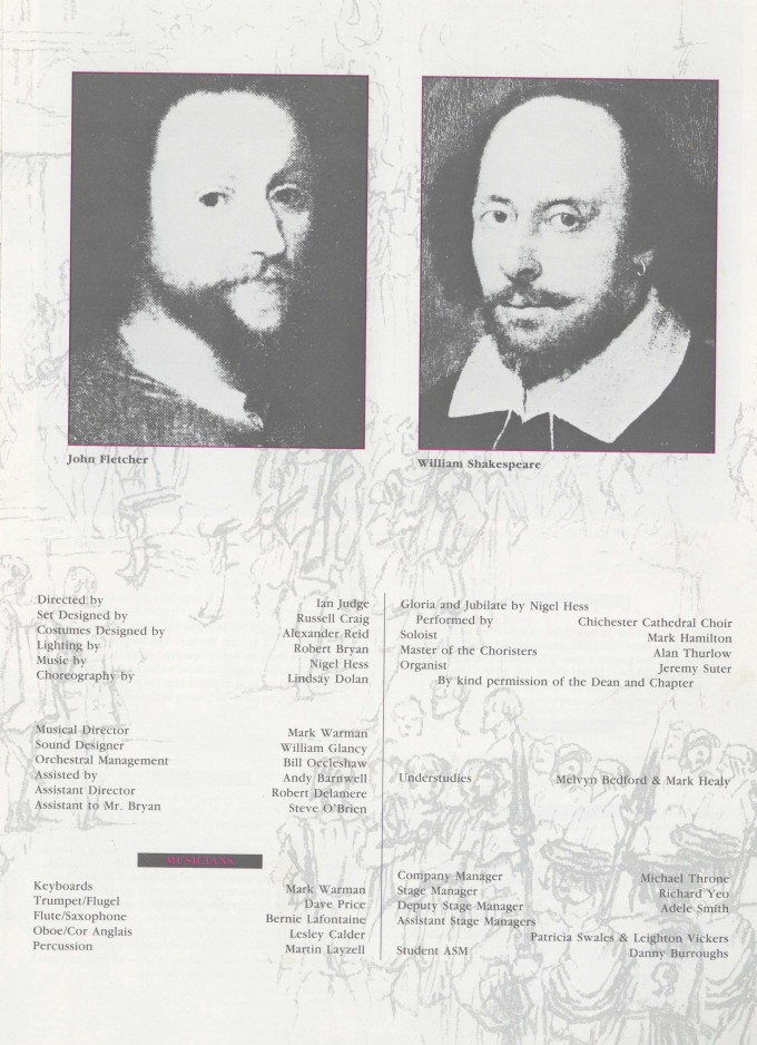 Programme cast list - Henry VIII of All is True - 1991 - R Ansley collection - H29.7xW42cm 2