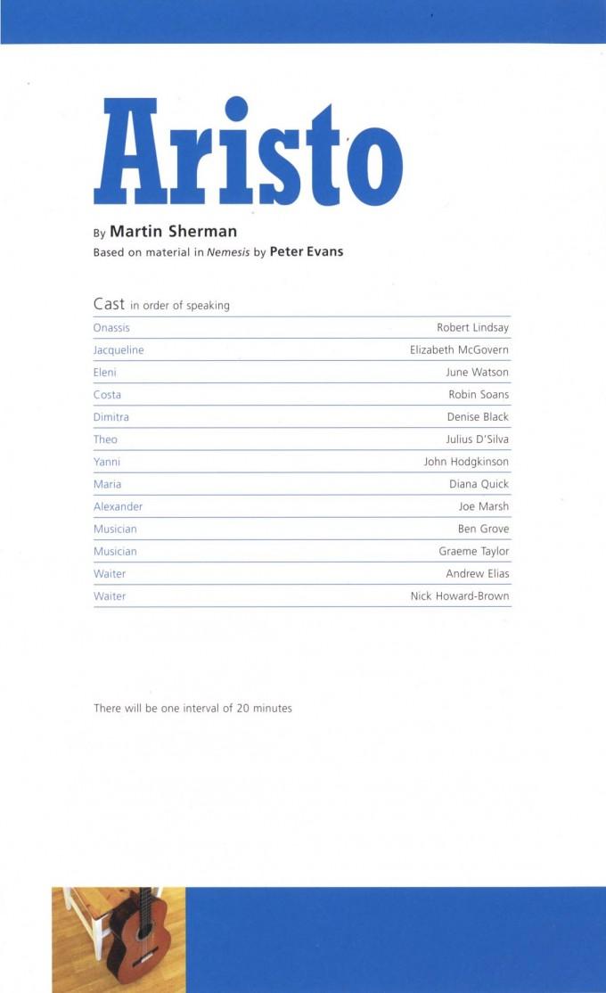 Cast List - Aristo - 2008 - 1 of 2