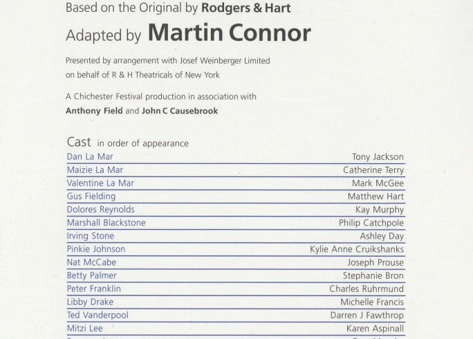 Cast List - Babes in Arms - 2007 - 1 of 2