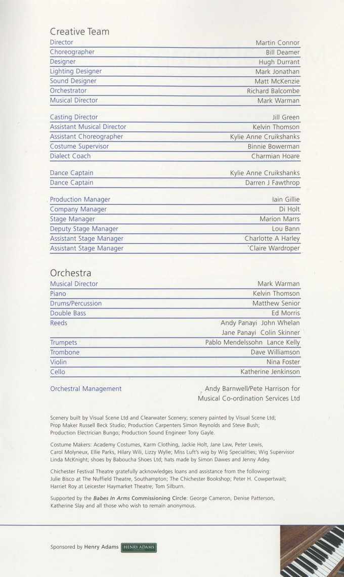 Cast List - Babes in Arms - 2007 - 2 of 2