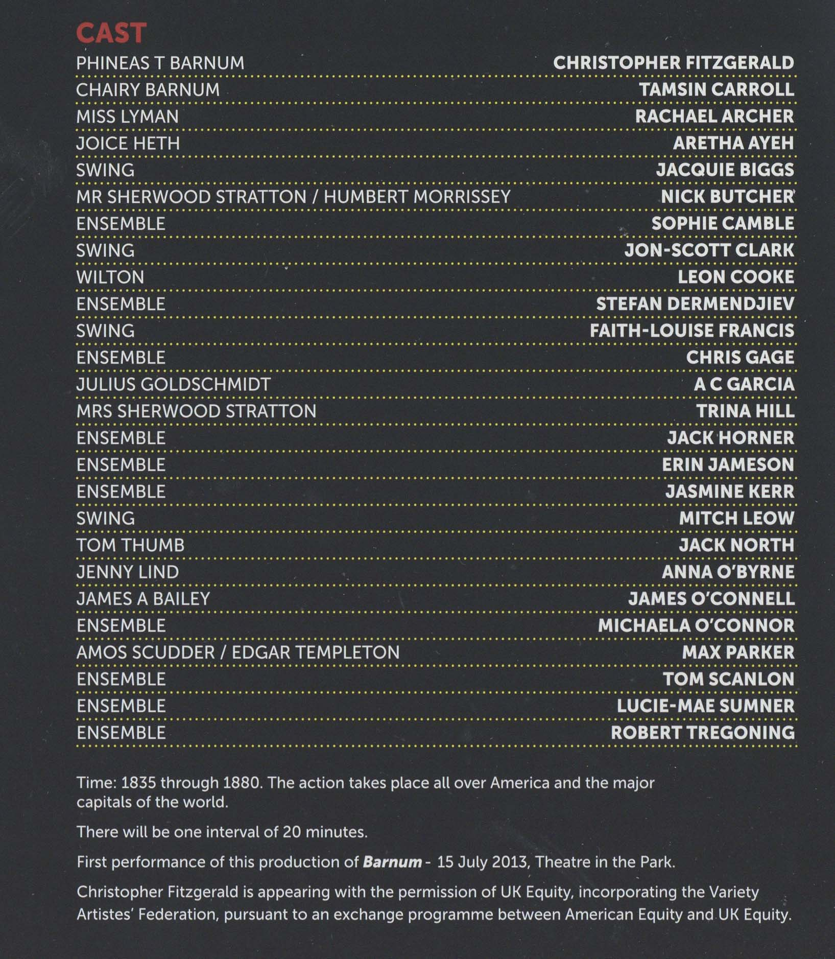 Cast List - Barnum - 2013 - 1 of 4