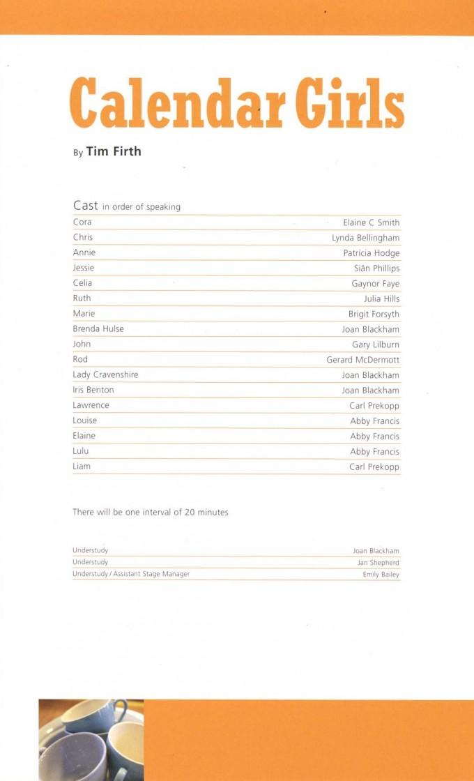 Cast List - Calander Girls - 2008 - 1 of 2