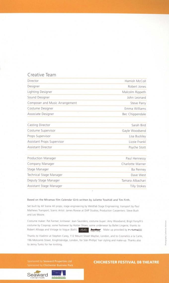 Cast List - Calander Girls - 2008 - 2 of 2
