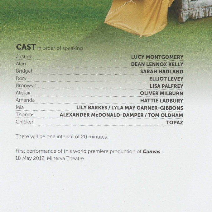 Cast List - Canvas -  2012  - 1 of 2