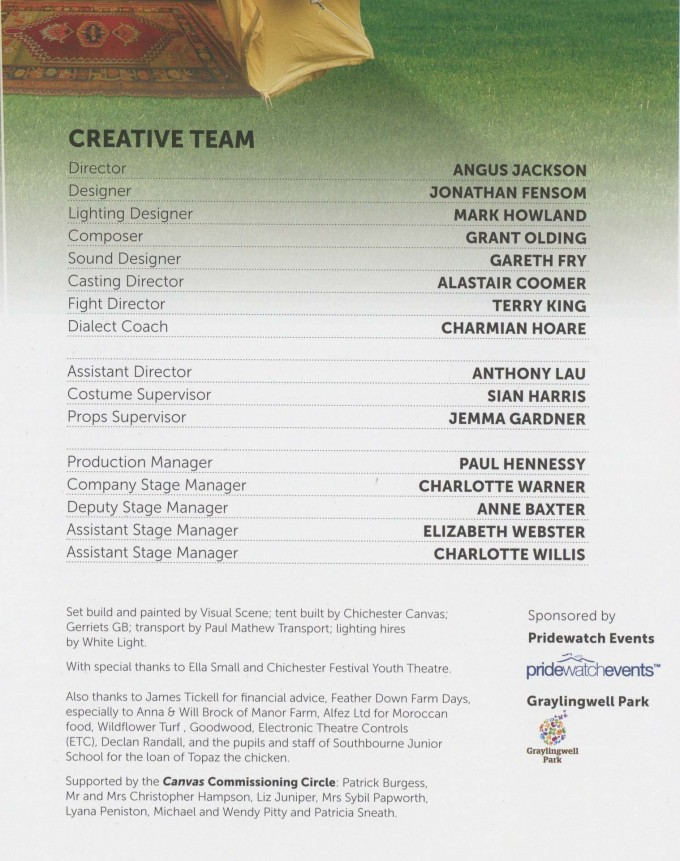 Cast List - Canvas -  2012  - 2 of 2
