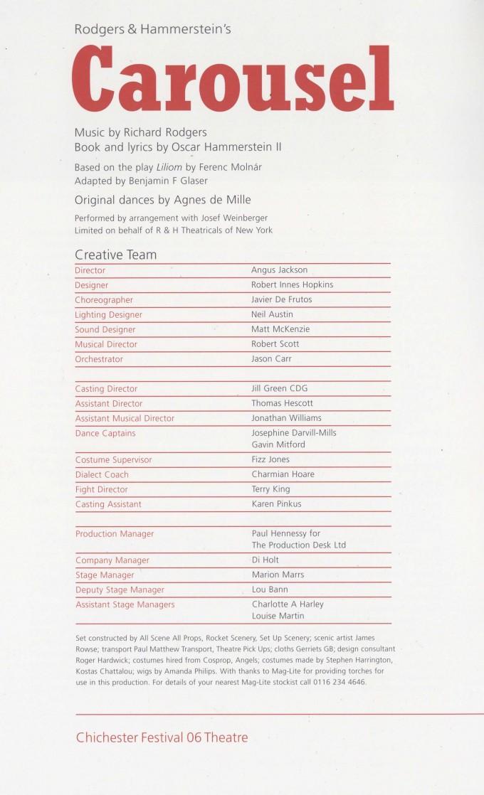 Cast List - Carousel - 2006 - 2 of 2