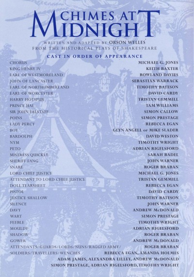 Cast List - Chimes at Midnight - 1998 - 1 of 2