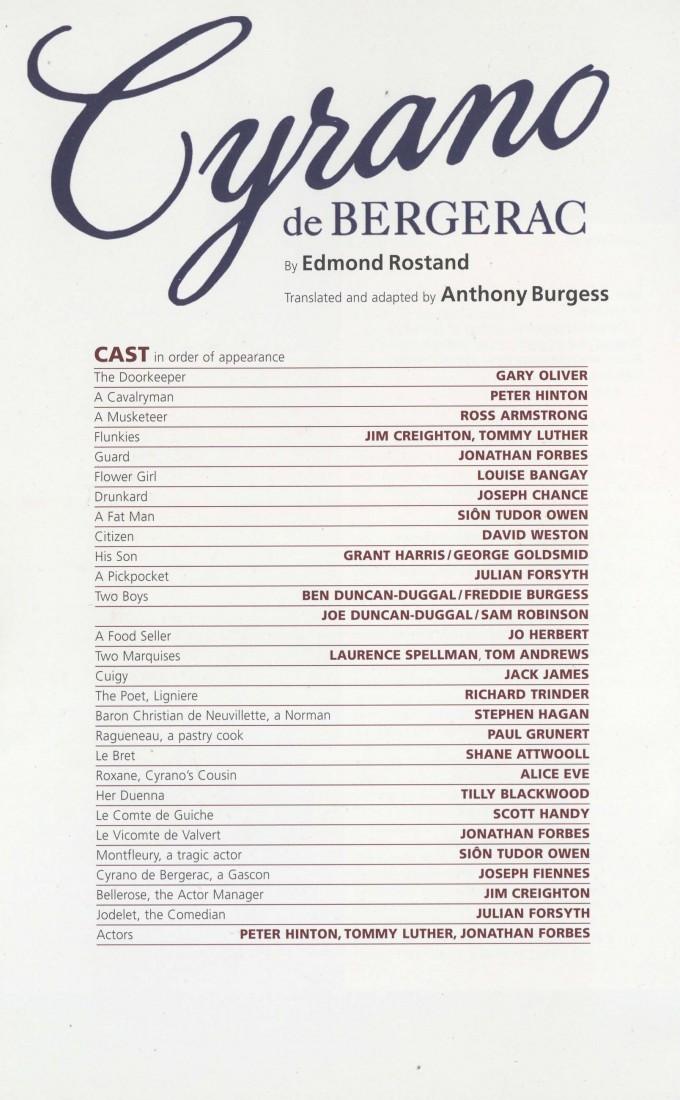 Cast List - Cyrano de Bergerac - 2009 - 1 of 2