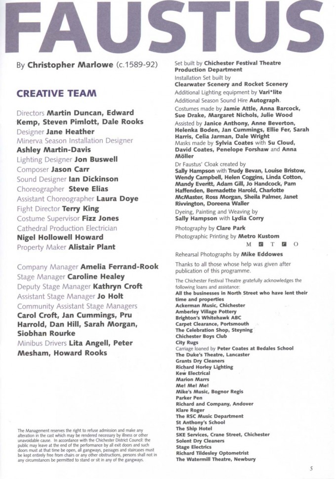 Cast List - Doctor Faustus - 2004 - 2 of 2