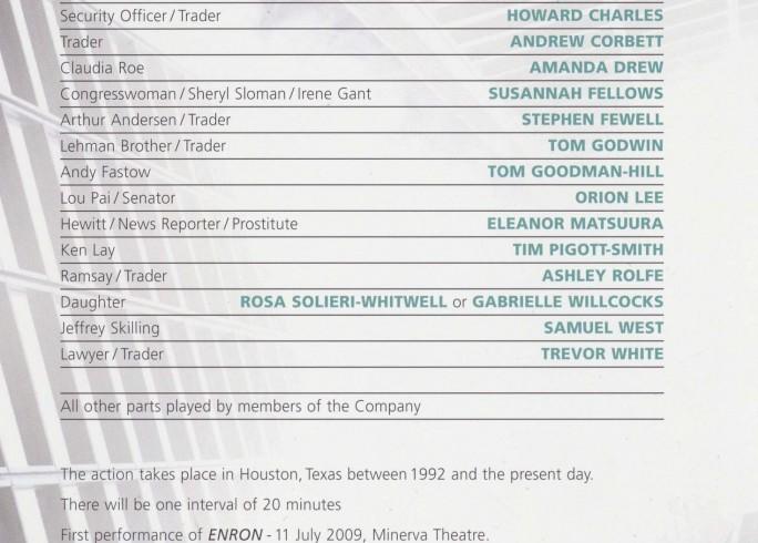 Cast List - Enron - 2009 - 1 of 2