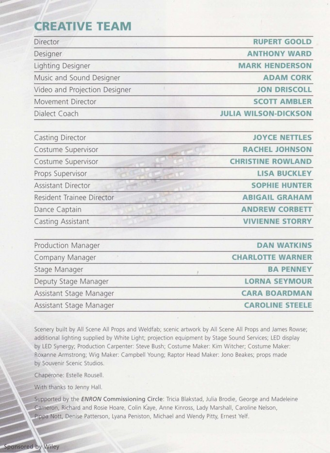 Cast List - Enron - 2009 - 2 of 2