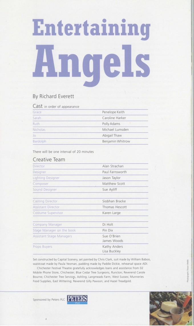 Cast List - Entertaining Angels - 2006