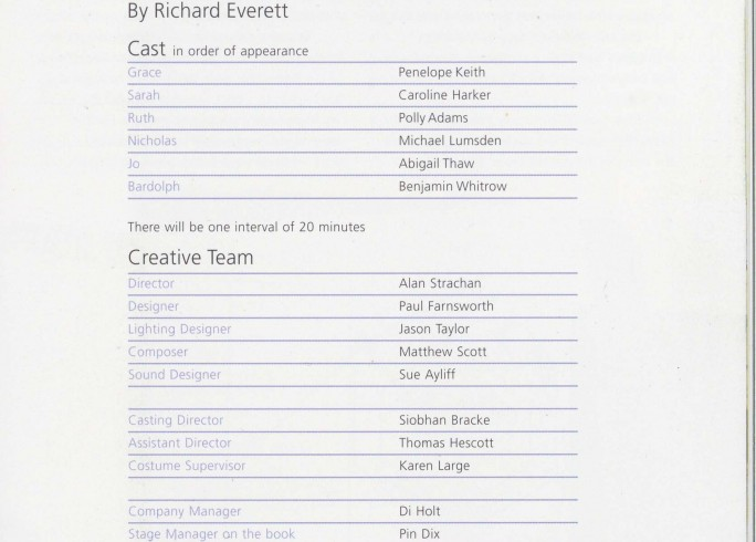Cast List - Entertaining Angels - 2006