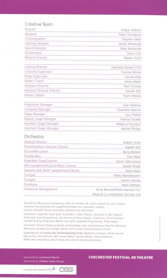 Cast List - Funny Girl - 2008 - 2 of 2