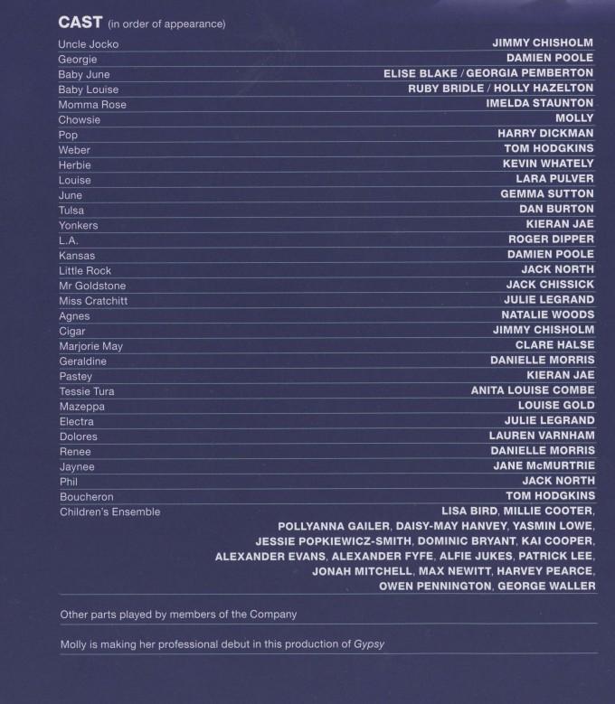 Cast List - Gypsy - 2014 - 1 of 2