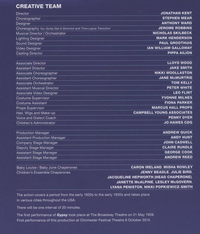 Cast List - Gypsy - 2014 - 2 of 2