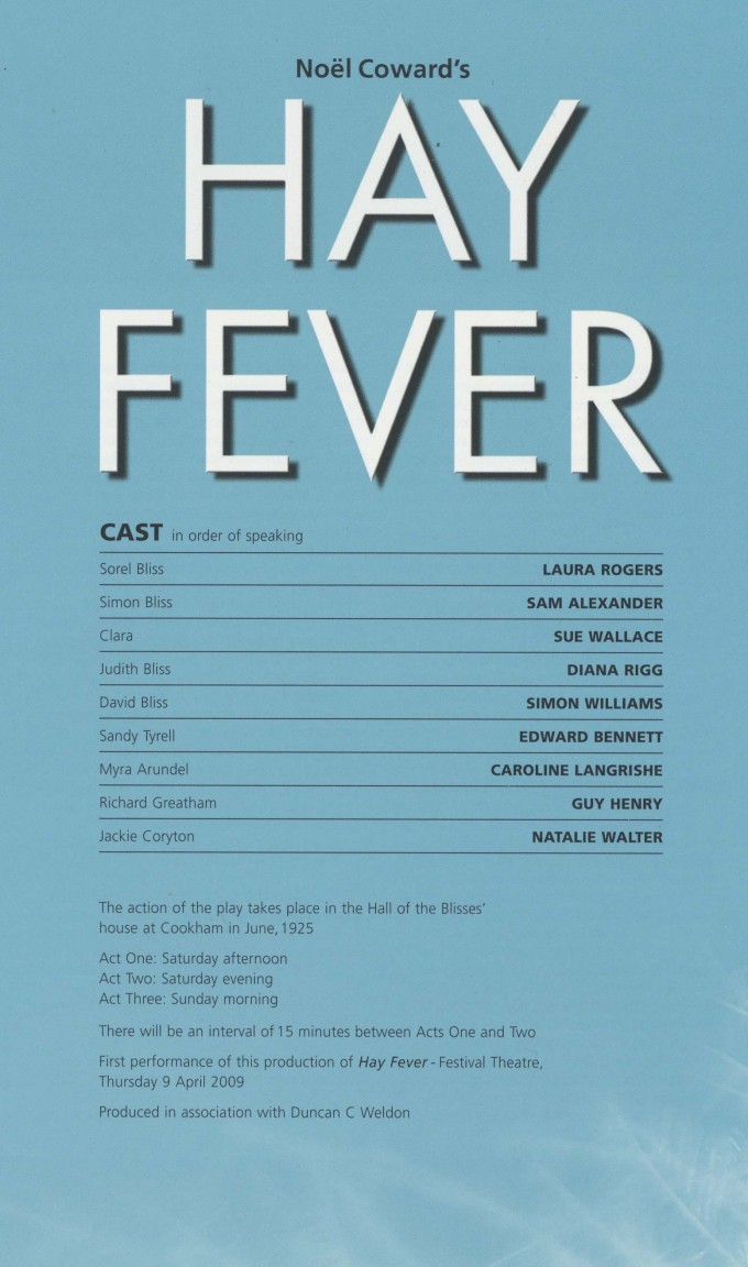 Cast List - Hay Fever - 2009 - 1 of 2