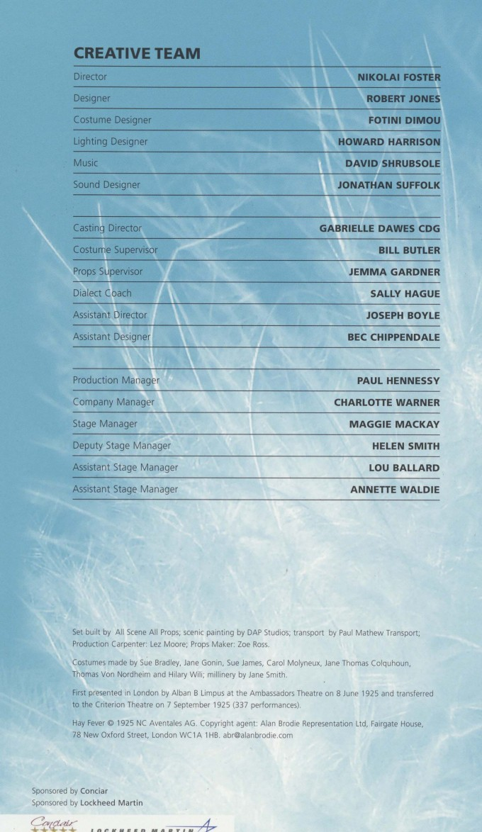 Cast List - Hay Fever - 2009 - 2 of 2