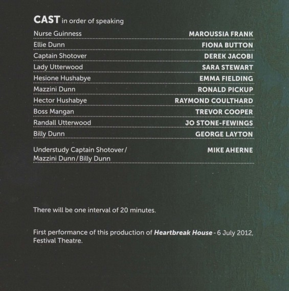Cast List - Heartbreak House - 2012 - 1 of 2