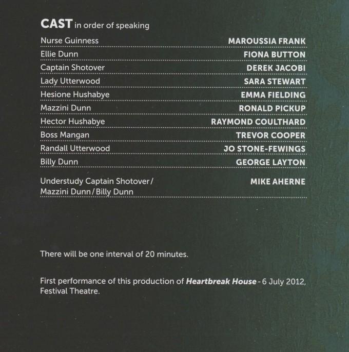 Cast List - Heartbreak House - 2012 - 1 of 2