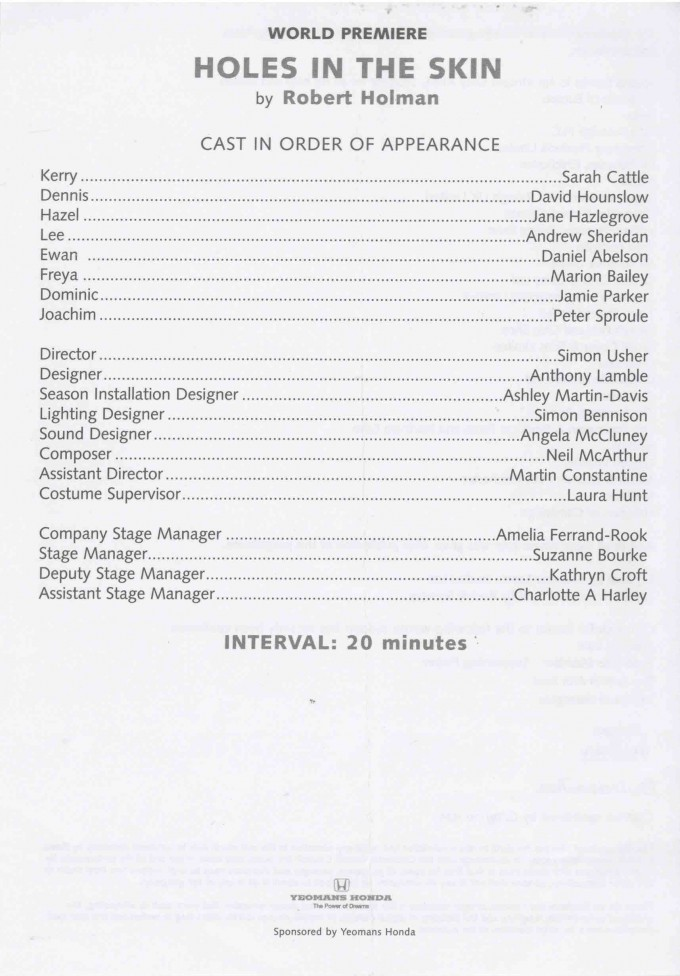 Cast List - Holes in the Skin - 2003 -1 of 2