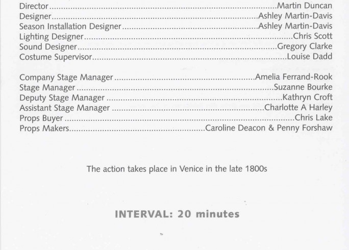 Cast List - I Caught my death in Venice - 2003 - 1 of 2