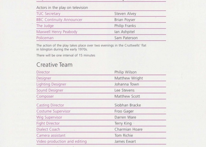 Cast List - In Praise of Love - 2006