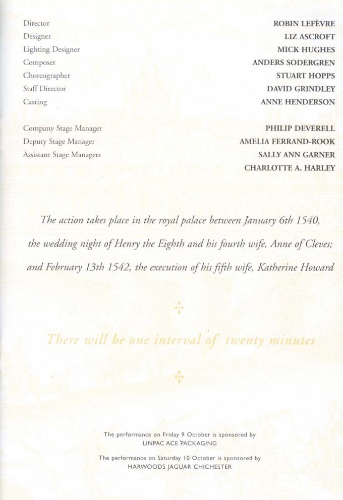 Cast List - Katherine Howard - 1998 - 2 of 2