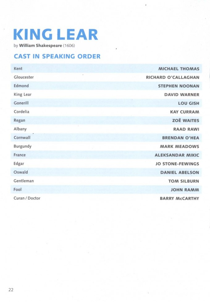 Cast List - King Lear- 2005 - 1 of 2