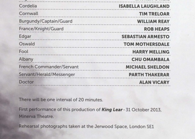 Cast List - King Lear- 2013 - 1 of 2