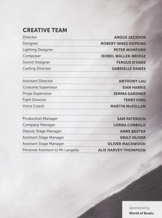 Cast List - King Lear- 2013 - 2 of 2