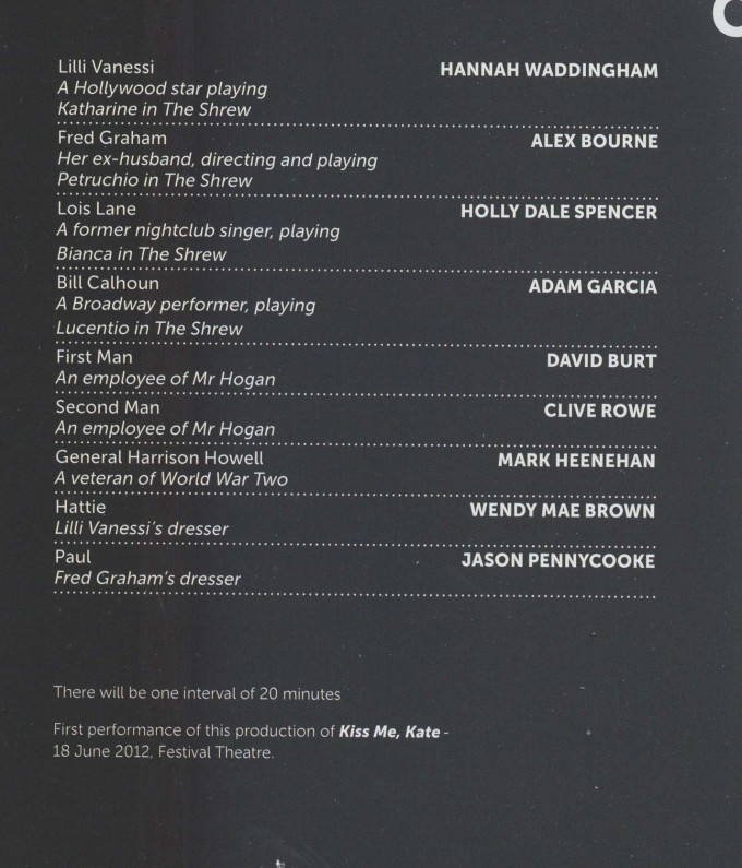 Cast List - Kiss Me Kate - 2012 - 1 of 2