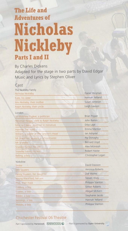 Cast List - Nicholas Nickleby - Parts I & II- 2006 - 1 of 4