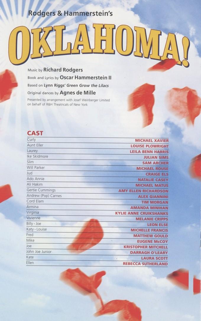 Cast List - Oklahoma! - 2009 - 1 of 2