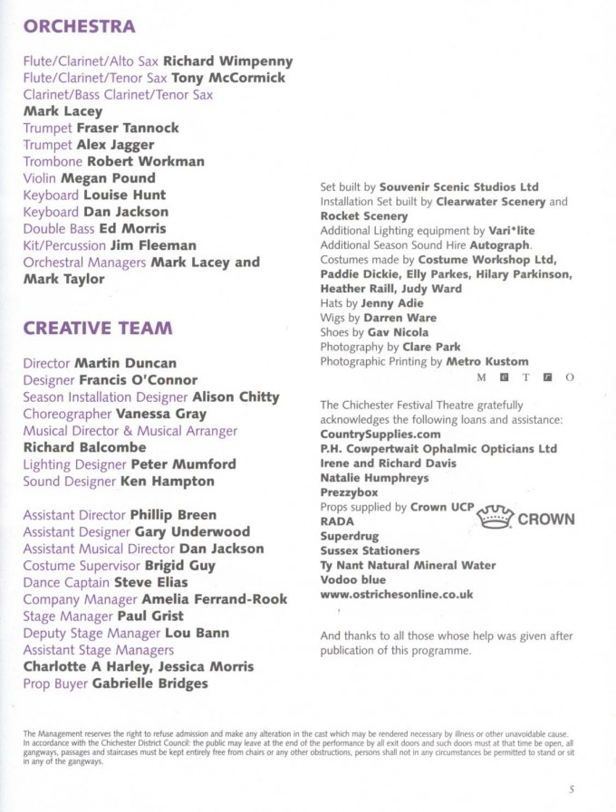 Cast List - Out of This World - 2003 - 2 of 2