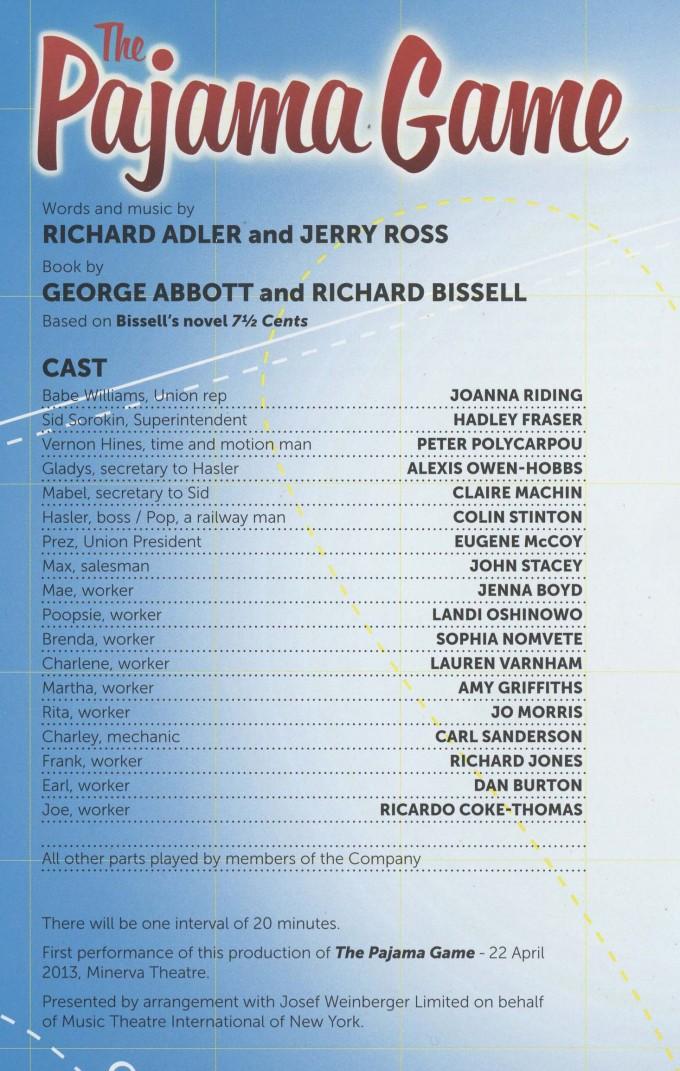 Cast List - Pajama Game - 2013 - 1 of 2