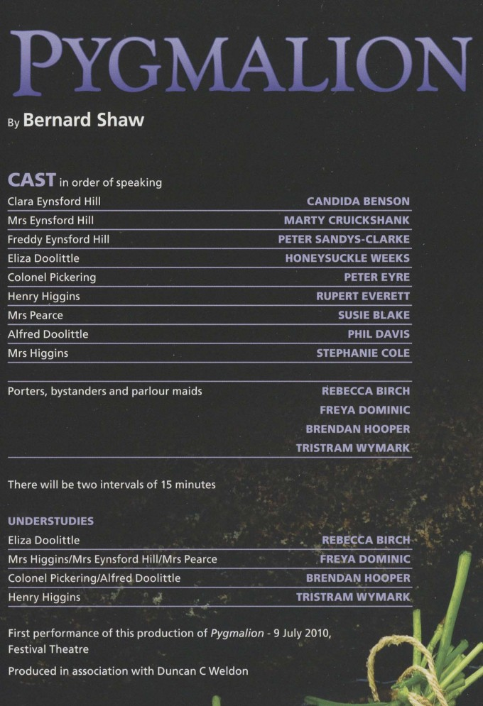 Cast List - Pygmalion - 2010 - 1 of 2