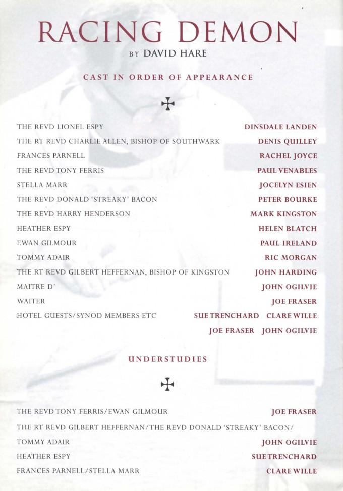 Cast List - Racing Demon - 1998 - 1 of 2
